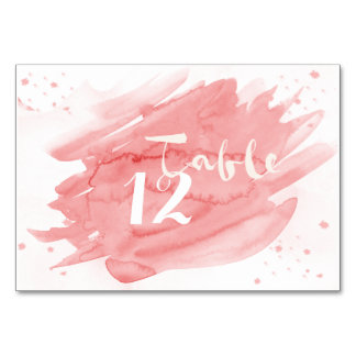 Shades of Pink Watercolor Table Numbers Table Card