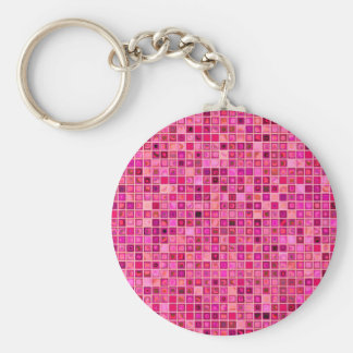 Shades Of Pink 'Watery' Mosaic Tile Pattern Basic Round Button Key Ring