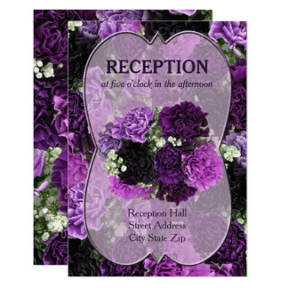 Shades of Purple Carnations Wedding Reception Card