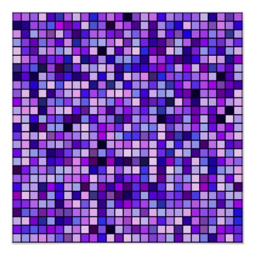 Shades Of Purple 'Grape Soda' Squares Pattern Poster