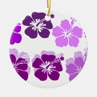 Shades of Purple hibiscus Round Ceramic Decoration