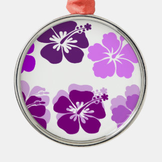Shades of Purple hibiscus Silver-Colored Round Decoration