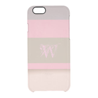 Shades of Purple Pink and Tan Personalized Clear iPhone 6/6S Case