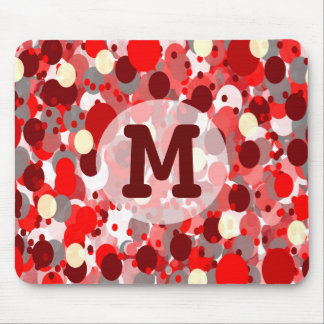 Shades of Red Bubbles Pattern with Monogram Mouse Pad