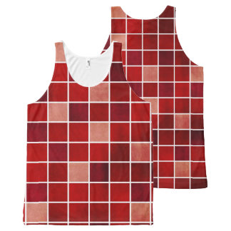 Shades of Red Color Block Tank Top All-Over Print Tank Top