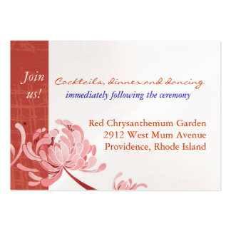 Shades of Red Mum Reception Enclosure (3.5x2.5) Business Card Template