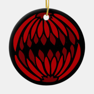 Shades of Red stained glass Round Ceramic Decoration