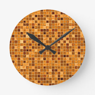 Shades Of Rust 'Watery' Mosaic Tile Pattern Round Clock