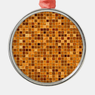 Shades Of Rust 'Watery' Mosaic Tile Pattern Silver-Colored Round Decoration