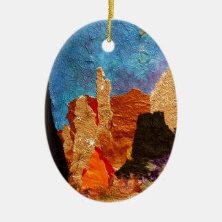 Shades of Sedona, collage Ceramic Oval Decoration