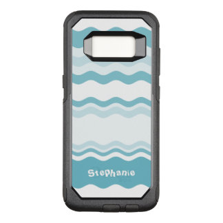 : Shades of Turquoise Waves Pattern OtterBox Commuter Samsung Galaxy S8 Case