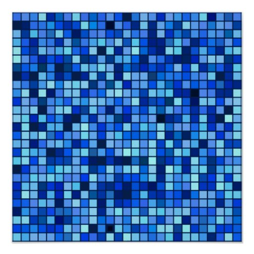 Shades Of Winter Blue And Black Squares Pattern Print
