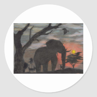 Shadow Elephant Classic Round Sticker