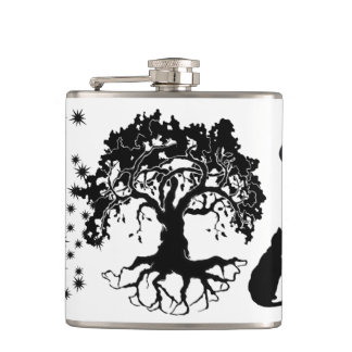 Shadow Fairies Tree Cat Vinyl Wrapped Flask, 6 oz. Hip Flask