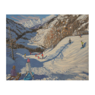 Shadow of a fir tree and skiers Tignes.2014 Wood Canvas