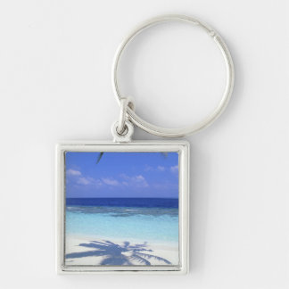 Shadow of Palm Tree Silver-Colored Square Key Ring