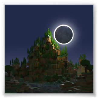 Shadow of the Moon Low Poly Voxel Art Photo Print