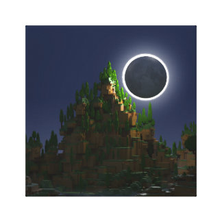 Shadow of the Moon Voxel Digital Art Canvas Print