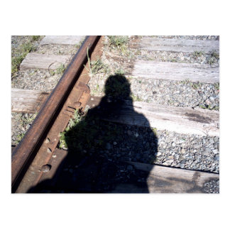 Shadow On The Railroad Tracks Postcard