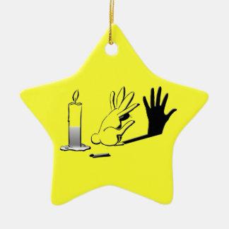 Shadow Rabbit by LightIllusions.com Ceramic Star Decoration