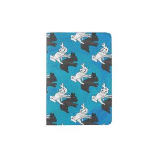 Shadow Rabbit on Blue Passport Holder