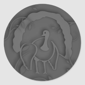 Shadow Turkey Noir Classic Round Sticker