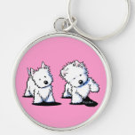 Shadowboxing Westies Silver-Colored Round Key Ring