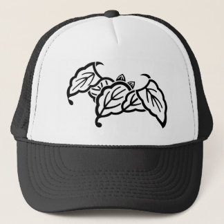 Shadowed bat-shaped oak leaves trucker hat