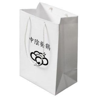 Shadowed crane-shaped plum blossom medium gift bag
