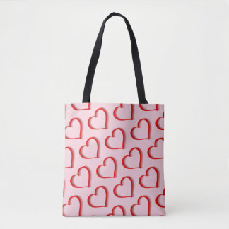 Shadowed Red Hearts Tote Bag