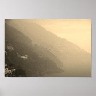 Shadows of the Amalfi Coastline Poster