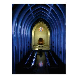 shadows of the dark blue church postcard