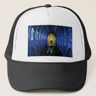 shadows of the dark blue church trucker hat