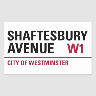 Shaftesbury Avenue Sign (pack of 4) Rectangular Sticker