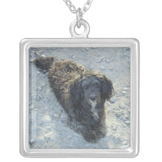 Shaggy black dog necklace
