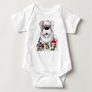 Shaggy Dog Christmas snowman red white ornaments Baby Bodysuit