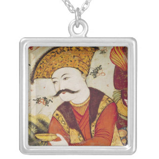 Shah Abbas I  and a Courtier offering Silver Plated Necklace