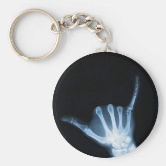 Shaka Sign X-Ray (Hang Loose) Basic Round Button Key Ring