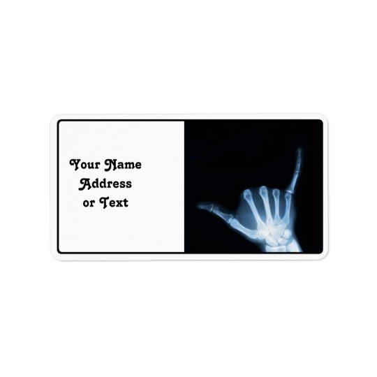 Shaka Sign X-Ray (Hang Loose) Label