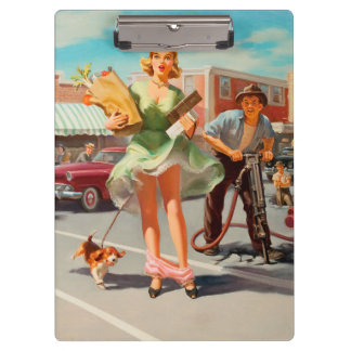 Shake down funny retro pinup girl clipboards