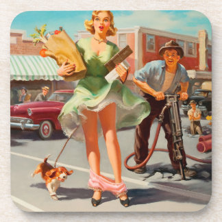 Shake down funny retro pinup girl coaster