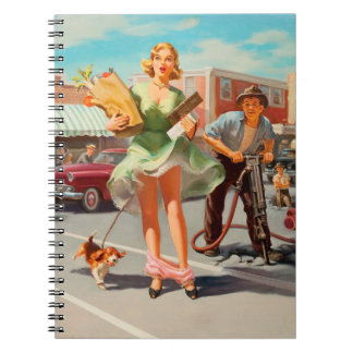 Shake down funny retro pinup girl notebook