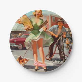Shake down funny retro pinup girl paper plate