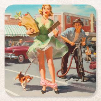 Shake down funny retro pinup girl square paper coaster