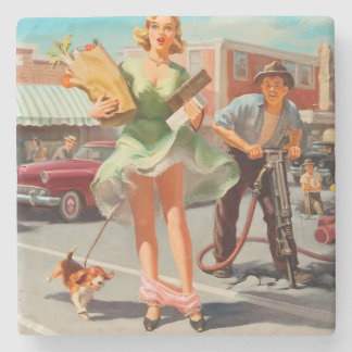 Shake down funny retro pinup girl stone coaster