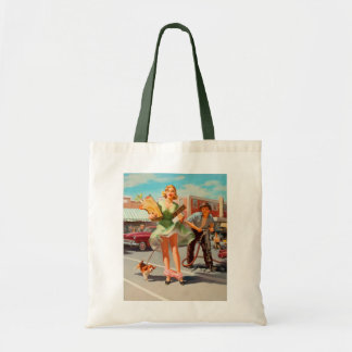 Shake down funny retro pinup girl tote bag