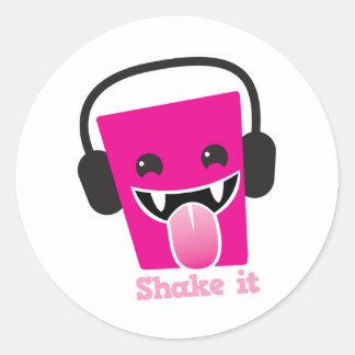 Shake it kawaii DJ Round Sticker