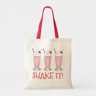 Shake It! Pink Strawberry Ice Cream Shop Milkshake Tote Bag