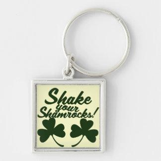 Shake your Shamrocks Silver-Colored Square Key Ring