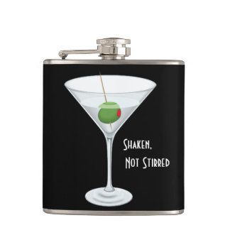 Shaken Not Stirred Martini Glass with Olive Hip Flask